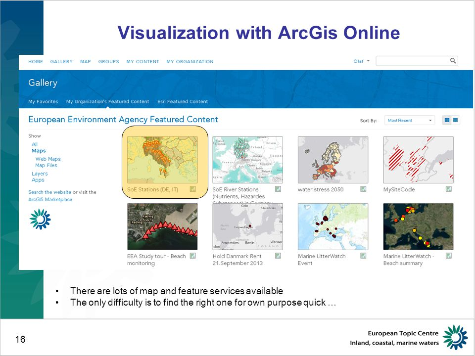 16 Visualization with ArcGis Online There are lots of map and feature services available The only difficulty is to find the right one for own purpose quick …