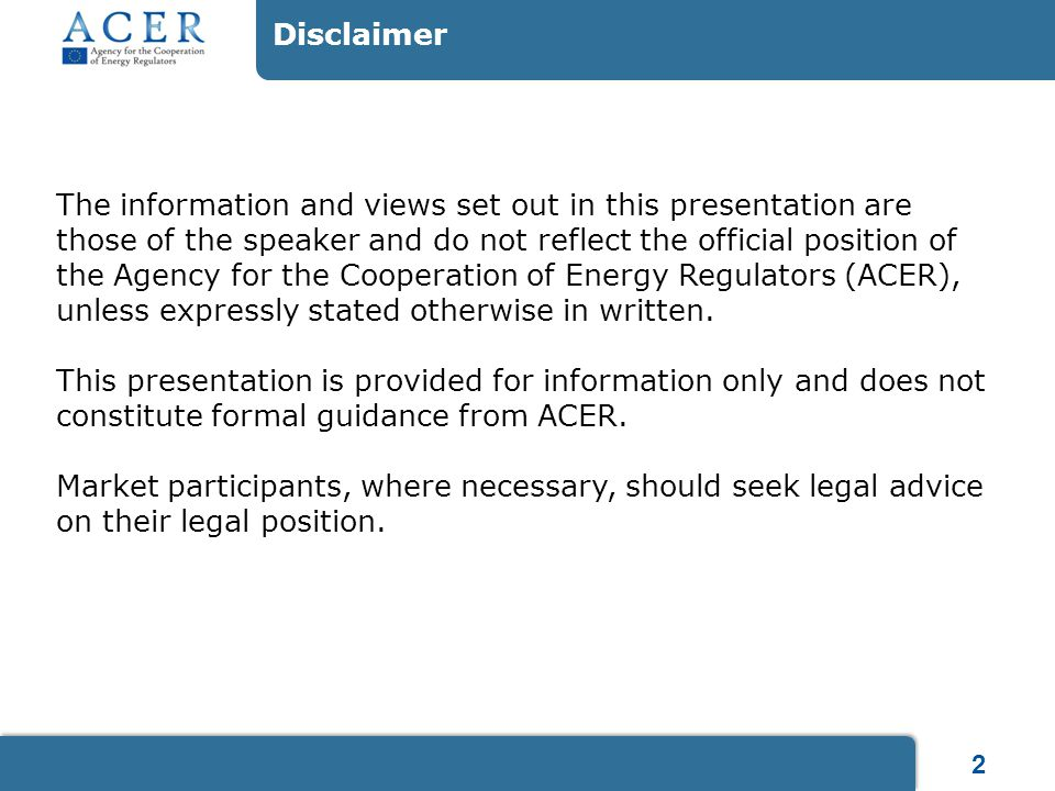 2 Disclaimer The information and views set out in this presentation are those of the speaker and do not reflect the official position of the Agency fo
