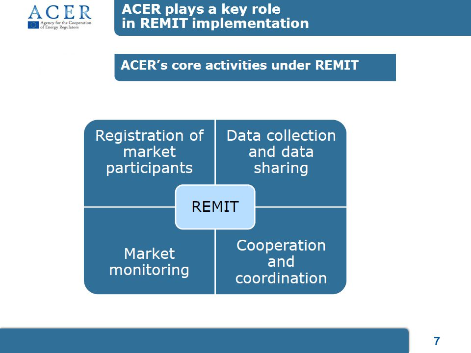 7 ACER plays a key role in REMIT implementation