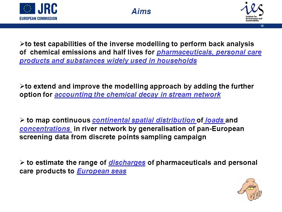 19 Aims  to test capabilities of the inverse modelling to perform back analysis of chemical emissions and half lives for pharmaceuticals, personal care products and substances widely used in households  to extend and improve the modelling approach by adding the further option for accounting the chemical decay in stream network  to map continuous continental spatial distribution of loads and concentrations in river network by generalisation of pan-European screening data from discrete points sampling campaign  to estimate the range of discharges of pharmaceuticals and personal care products to European seas