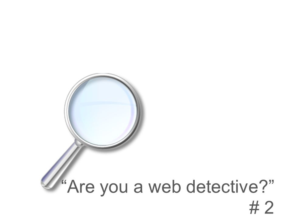 Are you a web detective # 2