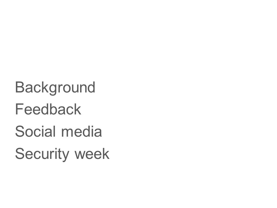 Background Feedback Social media Security week