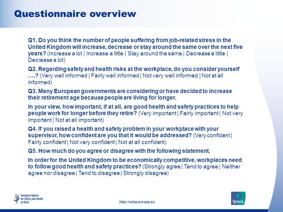 3 http://osha.europa.eu Questionnaire overview  Q1.