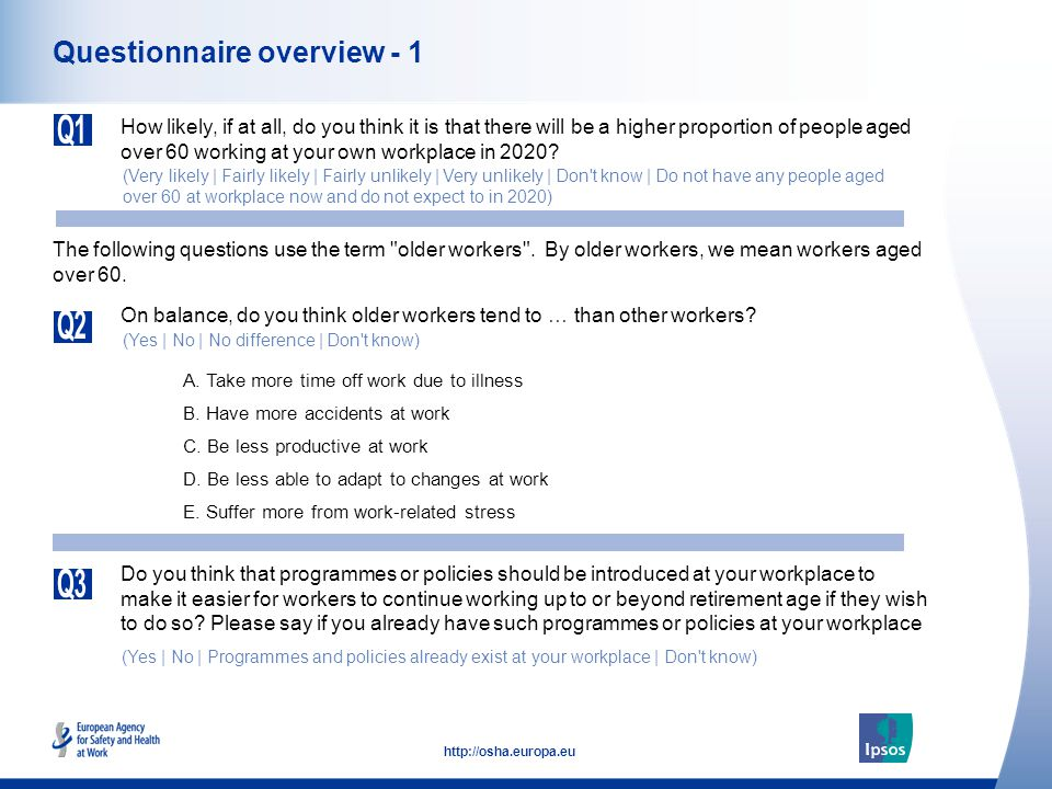 25 http://osha.europa.eu Programmes and policies to enable longer working Please say if you already have programmes or policies at your workplace to make it easier for workers to continue working up to or beyond retirement age.