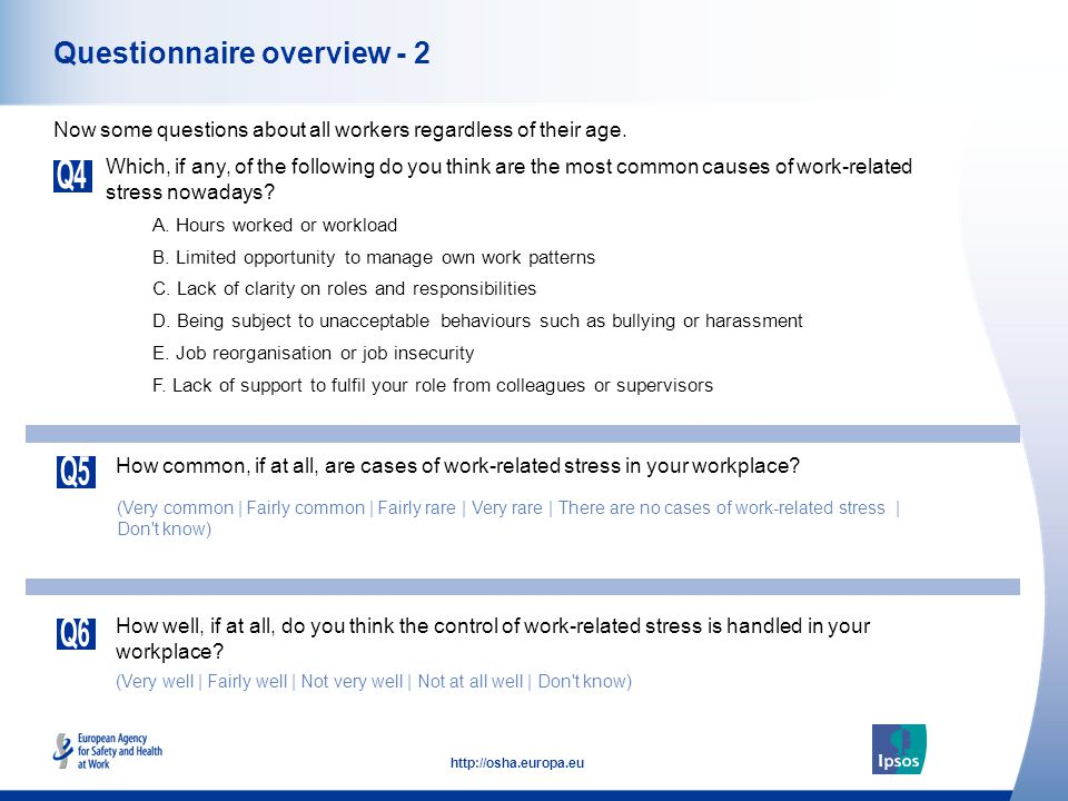 5 http://osha.europa.eu Questionnaire overview - 2 Which, if any, of the following do you think are the most common causes of work-related stress nowa