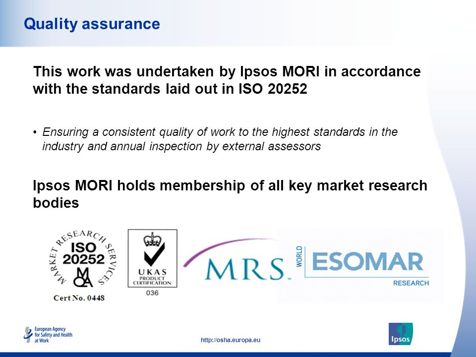 53 http://osha.europa.eu This work was undertaken by Ipsos MORI in accordance with the standards laid out in ISO 20252 Quality assurance Ipsos MORI ho