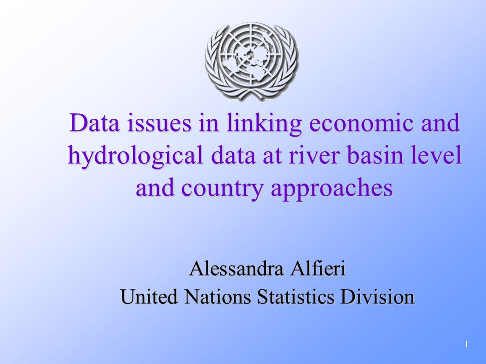 1 Data issues in linking economic and hydrological data at river basin level and country approaches Alessandra Alfieri United Nations Statistics Divis