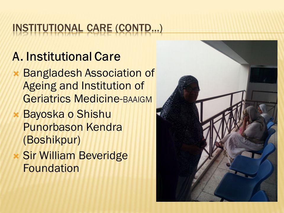 A. Institutional Care  Bangladesh Association of Ageing and Institution of Geriatrics Medicine- BAAIGM  Bayoska o Shishu Punorbason Kendra (Boshikpu