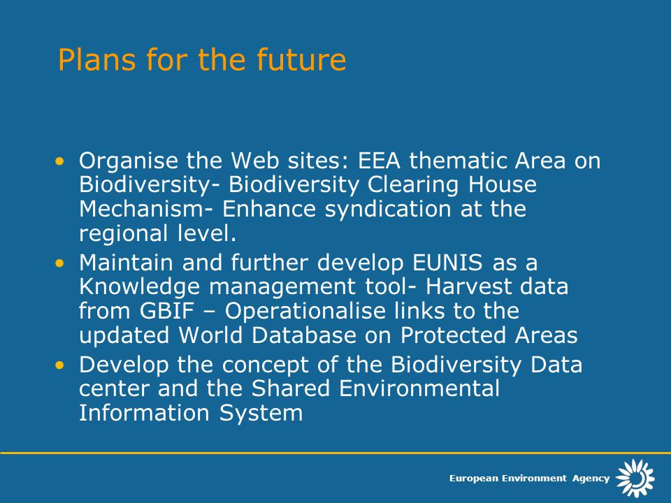 European Environment Agency Plans for the future Organise the Web sites: EEA thematic Area on Biodiversity- Biodiversity Clearing House Mechanism- Enhance syndication at the regional level.