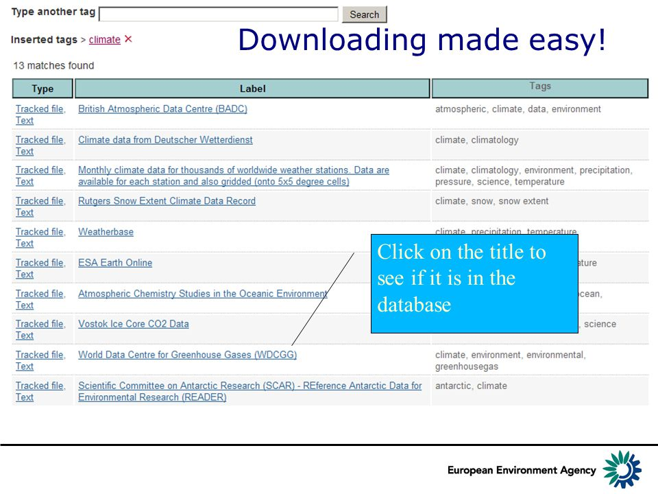 Downloading made easy! Click on the title to see if it is in the database