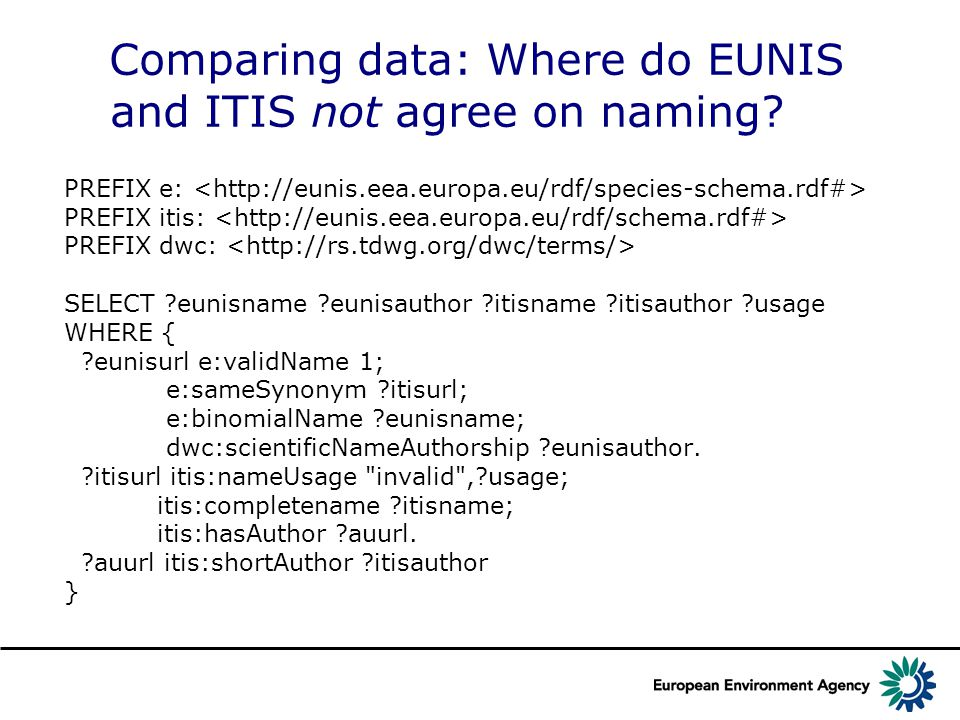 Comparing data: Where do EUNIS and ITIS not agree on naming.