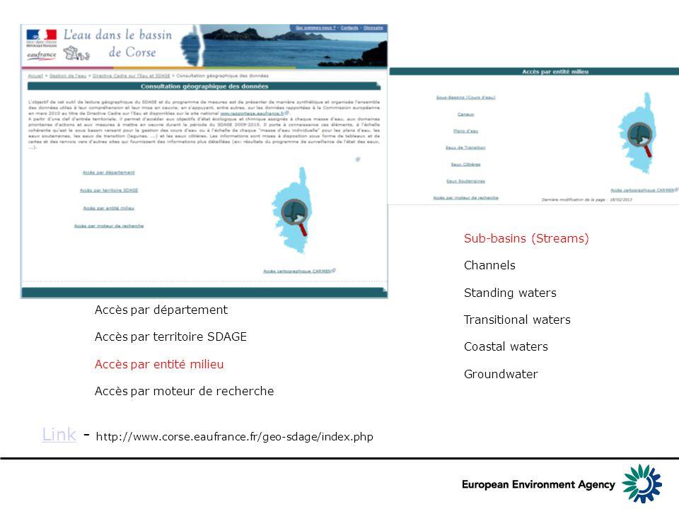 Corsica LinkLink - http://www.corse.eaufrance.fr/geo-sdage/index.php Accès par département Accès par territoire SDAGE Accès par entité milieu Accès par moteur de recherche Sub-basins (Streams) Channels Standing waters Transitional waters Coastal waters Groundwater