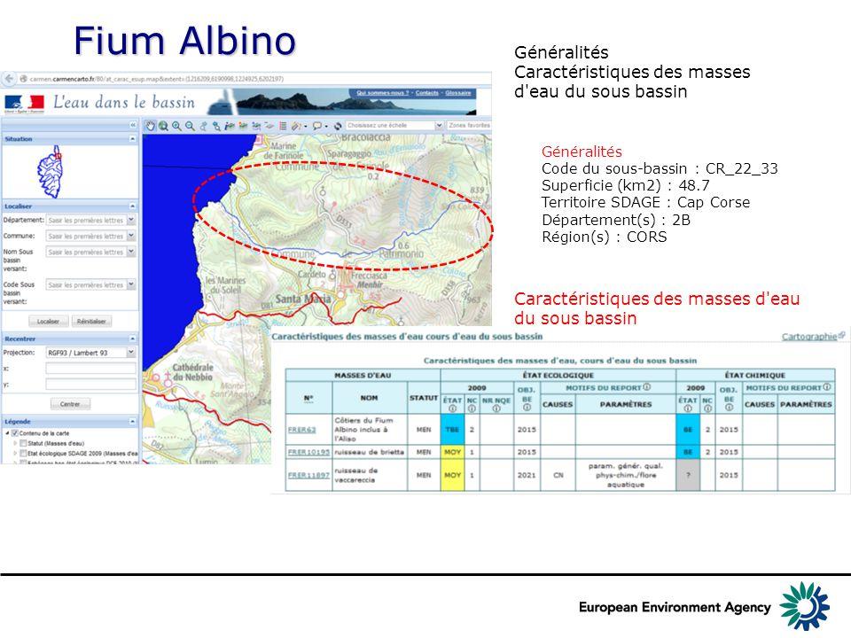 Fium Albino Généralités Caractéristiques des masses d eau du sous bassin Généralités Code du sous-bassin : CR_22_33 Superficie (km2) : 48.7 Territoire SDAGE : Cap Corse Département(s) : 2B Région(s) : CORS Caractéristiques des masses d eau du sous bassin