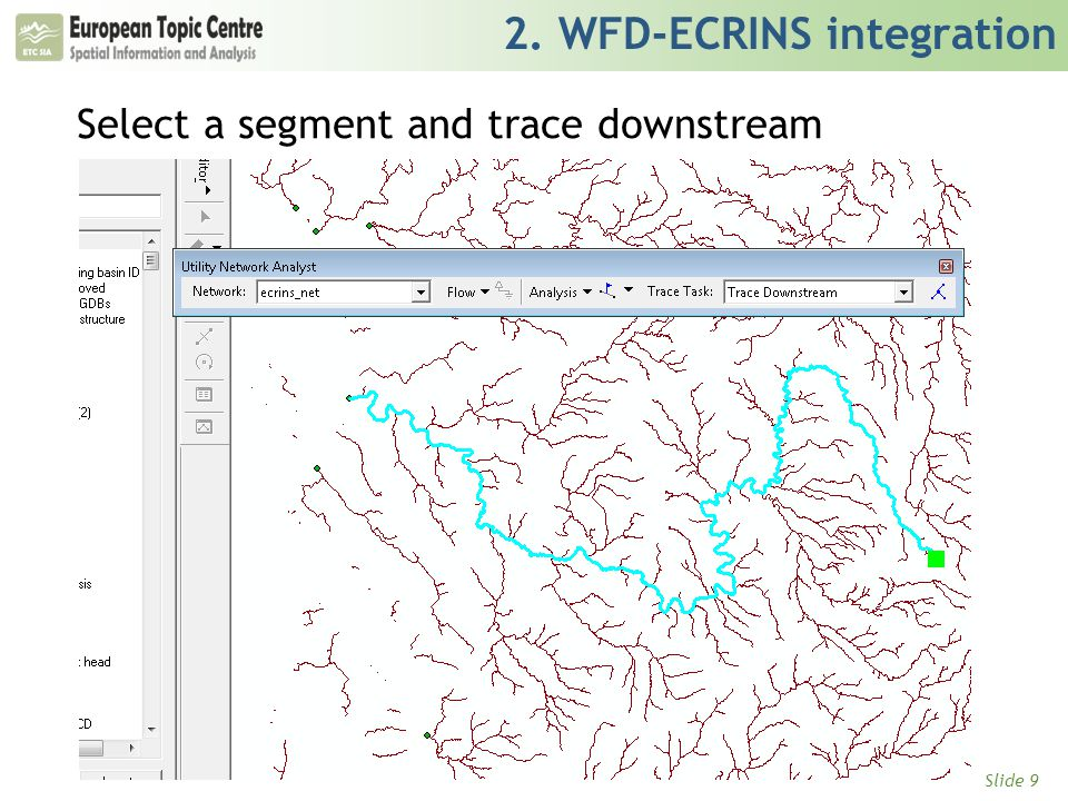 Slide 9 2. WFD-ECRINS integration Select a segment and trace downstream