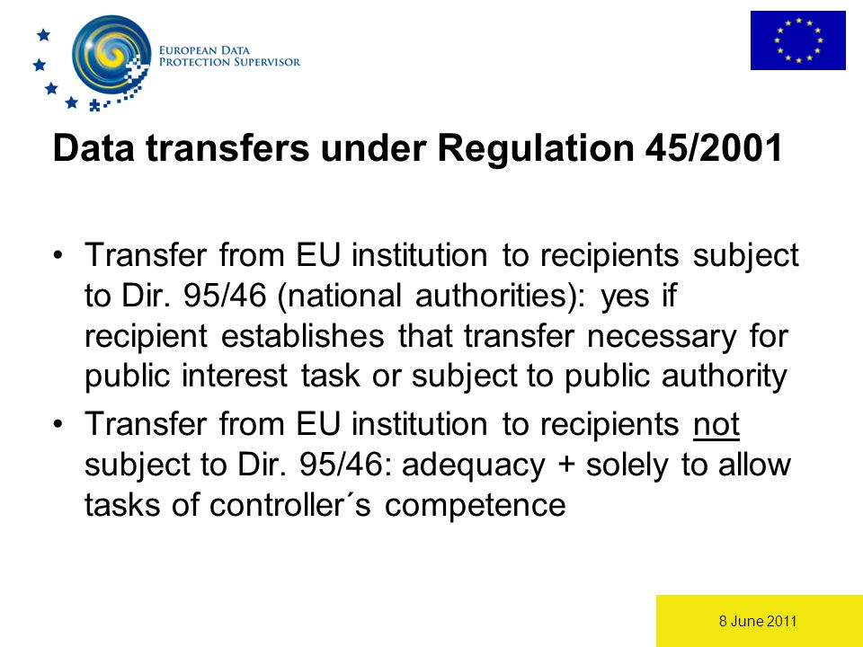 8 June 2011 Data transfers under Regulation 45/2001 Transfer from EU institution to recipients subject to Dir.