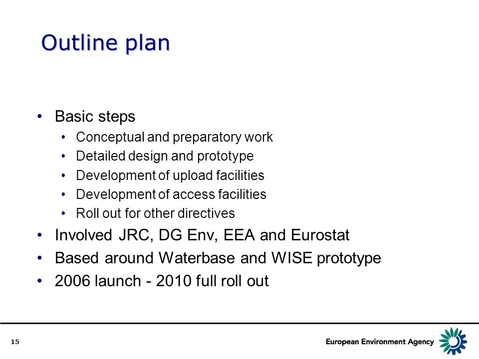 15 Outline plan Basic steps Conceptual and preparatory work Detailed design and prototype Development of upload facilities Development of access facilities Roll out for other directives Involved JRC, DG Env, EEA and Eurostat Based around Waterbase and WISE prototype 2006 launch - 2010 full roll out