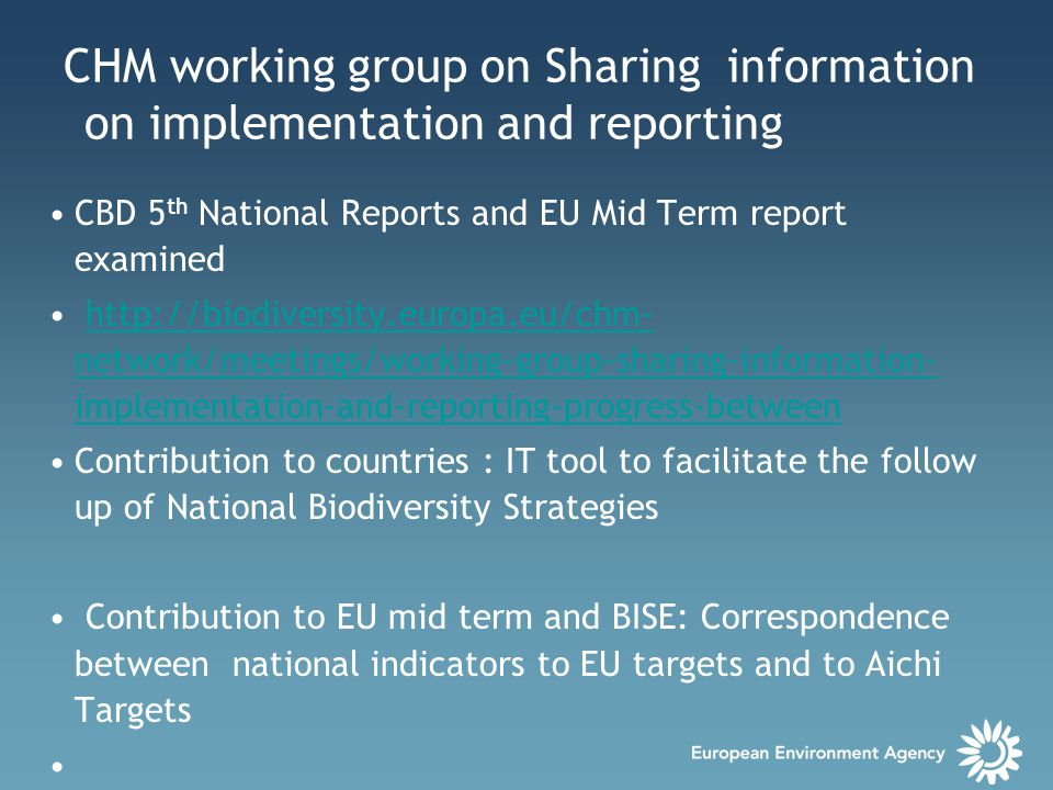 CHM working group on Sharing information on implementation and reporting CBD 5 th National Reports and EU Mid Term report examined http://biodiversity.europa.eu/chm- network/meetings/working-group-sharing-information- implementation-and-reporting-progress-betweenhttp://biodiversity.europa.eu/chm- network/meetings/working-group-sharing-information- implementation-and-reporting-progress-between Contribution to countries : IT tool to facilitate the follow up of National Biodiversity Strategies Contribution to EU mid term and BISE: Correspondence between national indicators to EU targets and to Aichi Targets