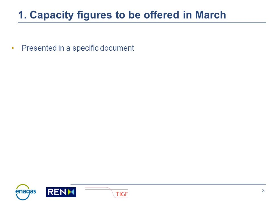 2 Index 1.Capacity figures to be offered in March.