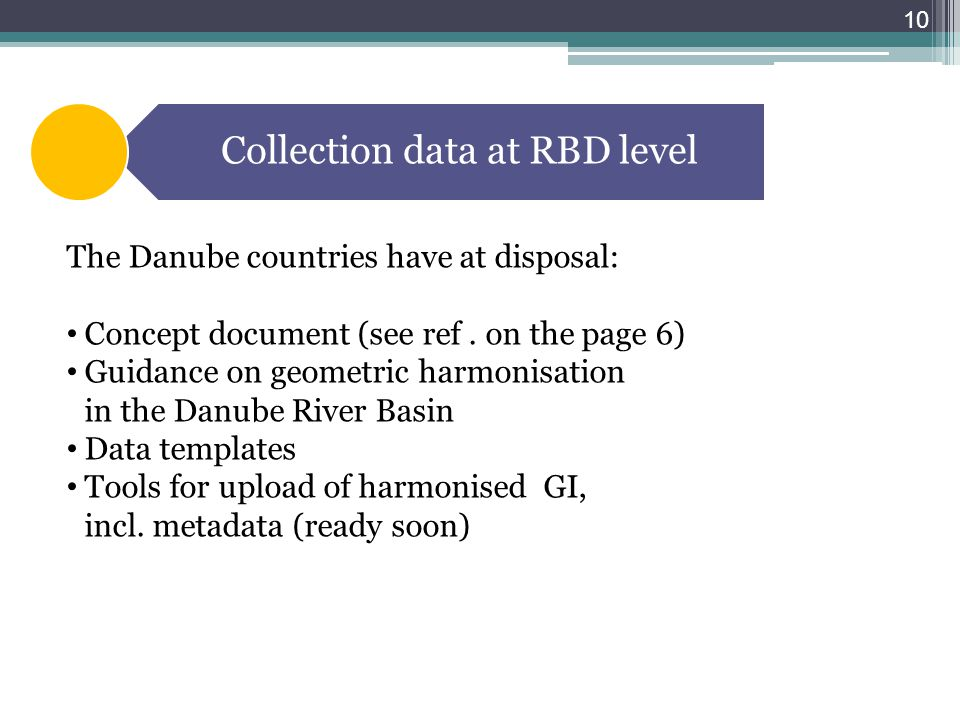Collection data at RBD level The Danube countries have at disposal: Concept document (see ref.