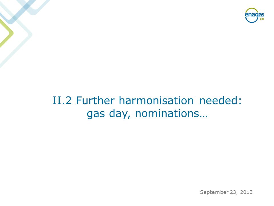 II.2 Further harmonisation needed: gas day, nominations… September 23, 2013