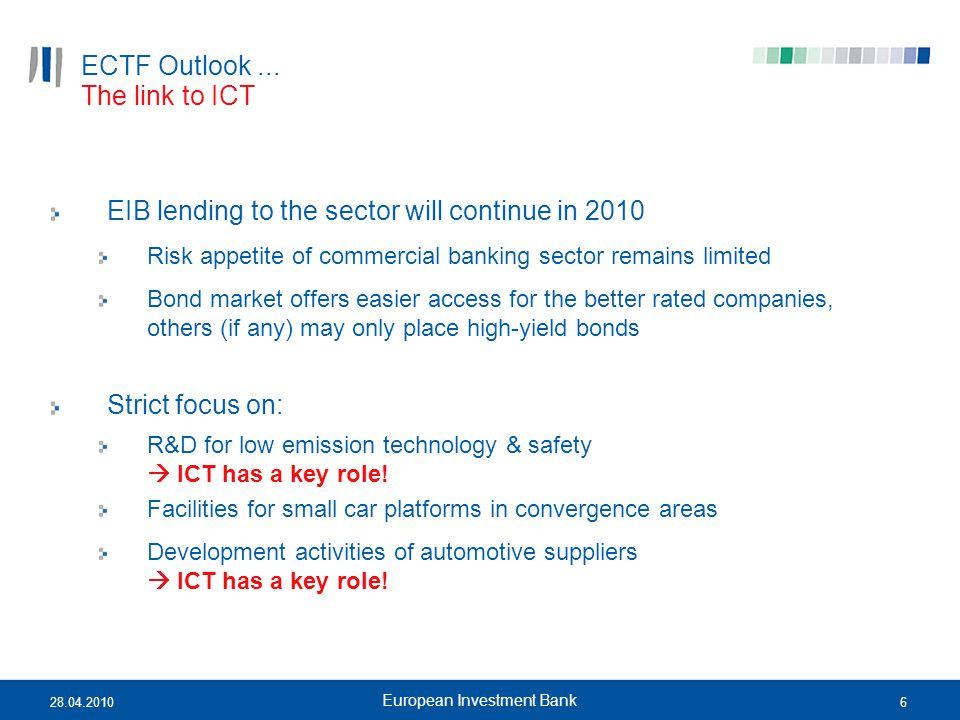 628.04.2010 European Investment Bank ECTF Outlook... EIB lending to the sector will continue in 2010 Risk appetite of commercial banking sector remain