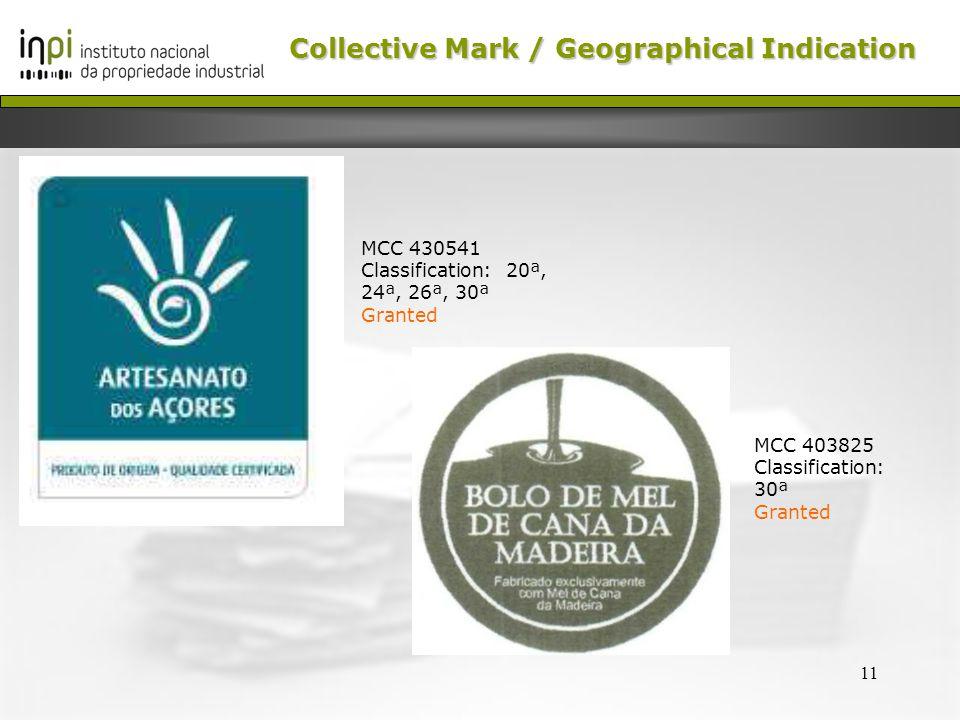 11 MCC 430541 Classification: 20ª, 24ª, 26ª, 30ª Granted MCC 403825 Classification: 30ª Granted Collective Mark /Geographical Indication Collective Mark / Geographical Indication