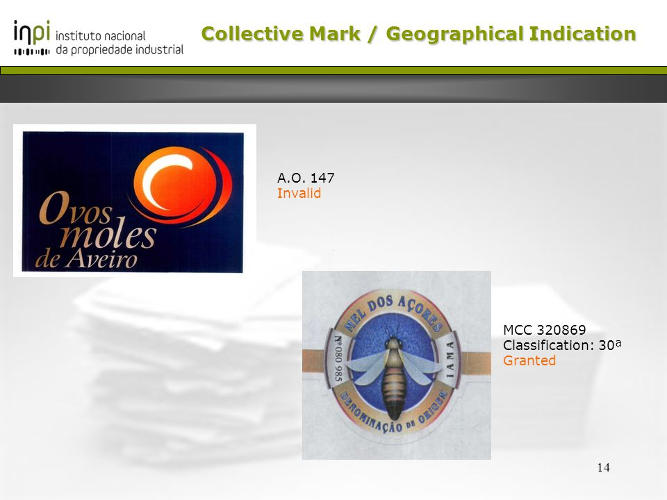 14 Collective Mark /Geographical Indication Collective Mark / Geographical Indication MCC 320869 Classification: 30ª Granted A.O.