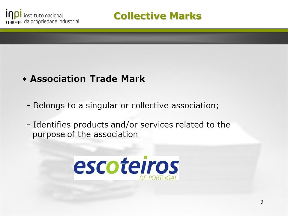 4 Collective Marks Certification Trade Mark - Belongs to a singular or collective association which controls its products or services
