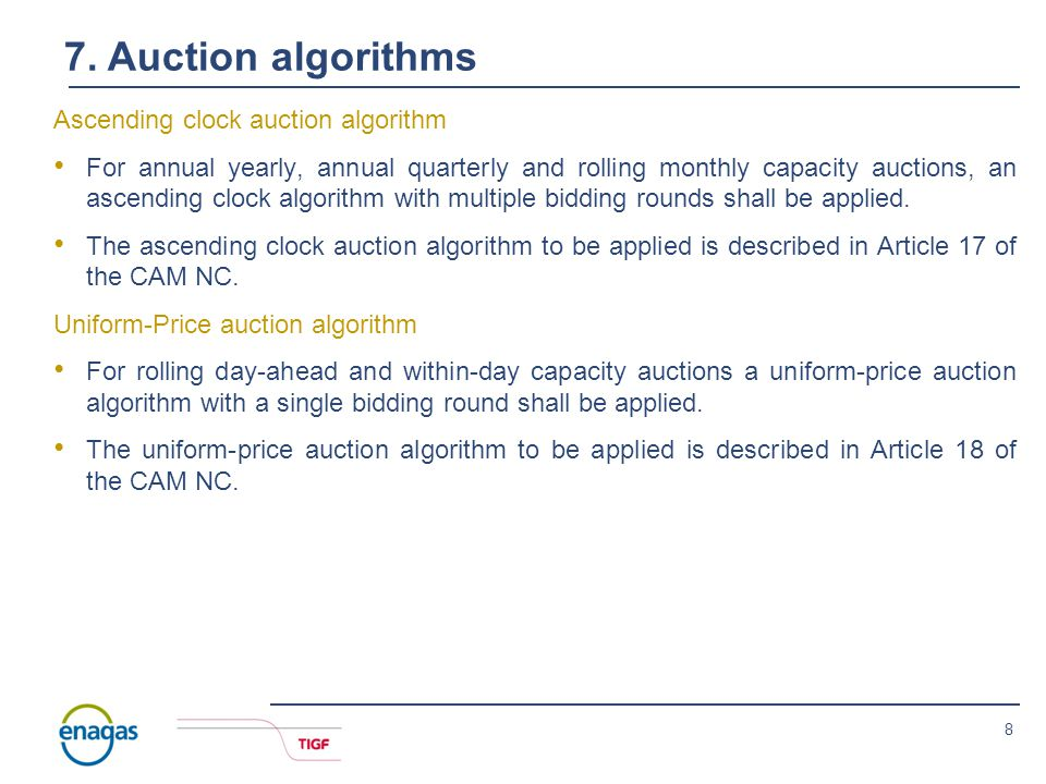 7 6. Auctions 2014 auctions Until the binding application of the CAM NC as from November 2015 the following auctions will be held for bundled and unbu