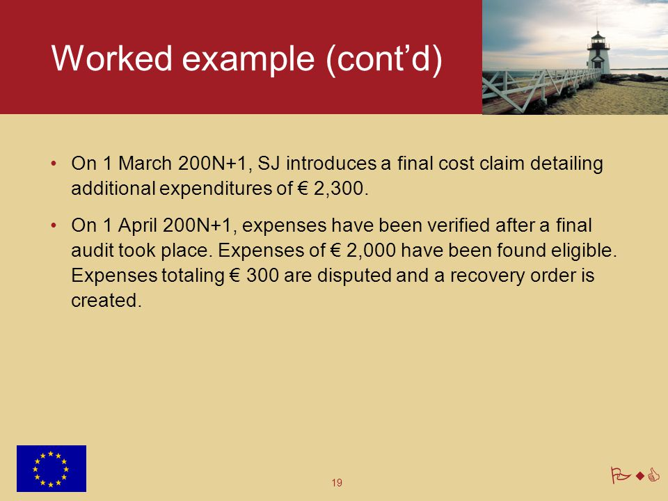 19 PwC Worked example (cont'd) On 1 March 200N+1, SJ introduces a final cost claim detailing additional expenditures of € 2,300. On 1 April 200N+1, ex