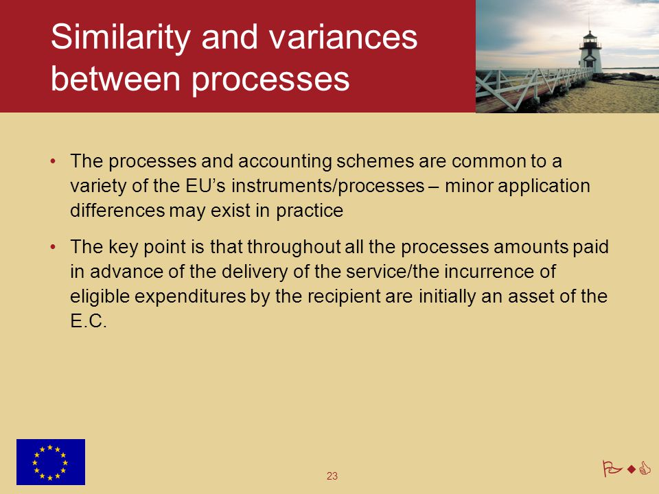 23 PwC Similarity and variances between processes The processes and accounting schemes are common to a variety of the EU's instruments/processes – min