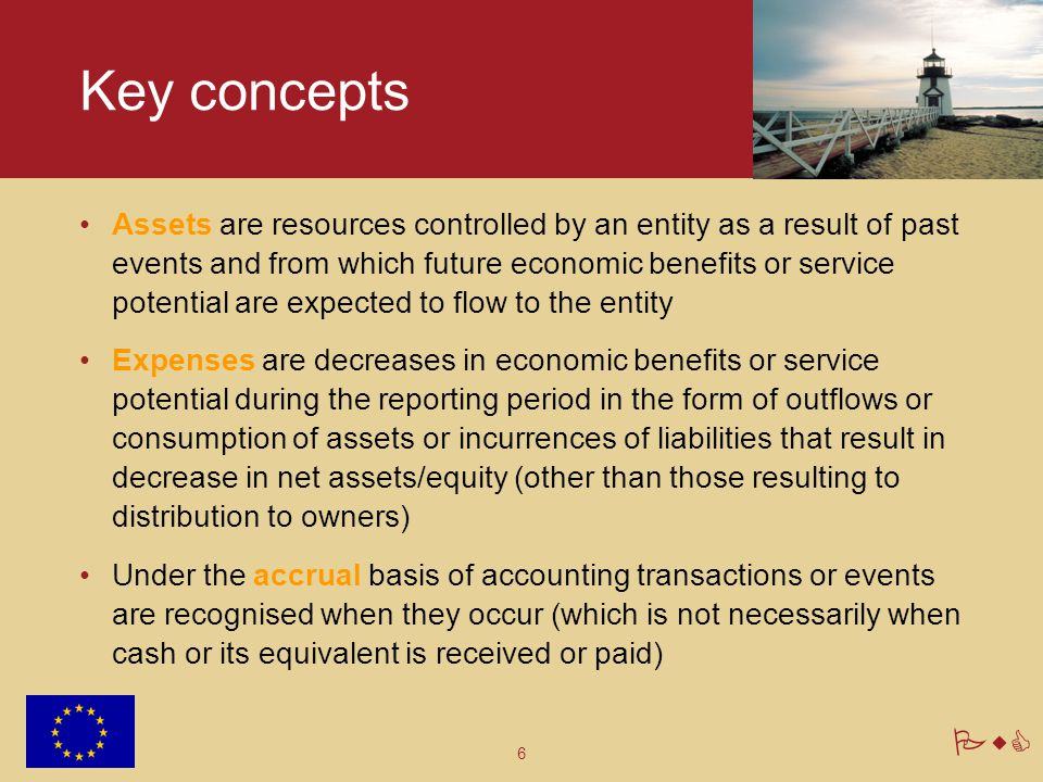 6 PwC Key concepts Assets are resources controlled by an entity as a result of past events and from which future economic benefits or service potentia