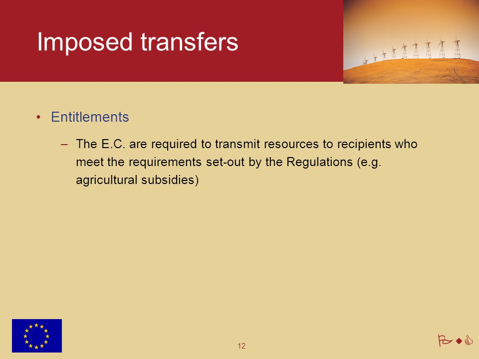 12 PwC Imposed transfers Entitlements –The E.C.