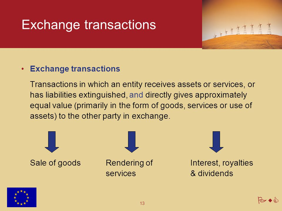 13 PwC Exchange transactions Transactions in which an entity receives assets or services, or has liabilities extinguished, and directly gives approxim