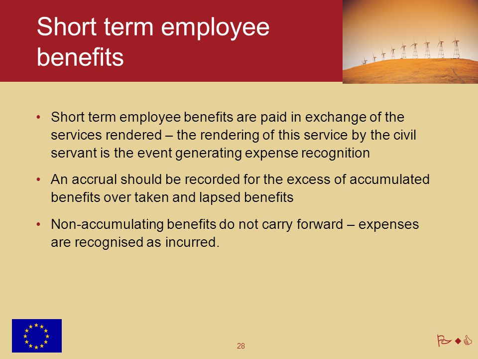 28 PwC Short term employee benefits Short term employee benefits are paid in exchange of the services rendered – the rendering of this service by the civil servant is the event generating expense recognition An accrual should be recorded for the excess of accumulated benefits over taken and lapsed benefits Non-accumulating benefits do not carry forward – expenses are recognised as incurred.