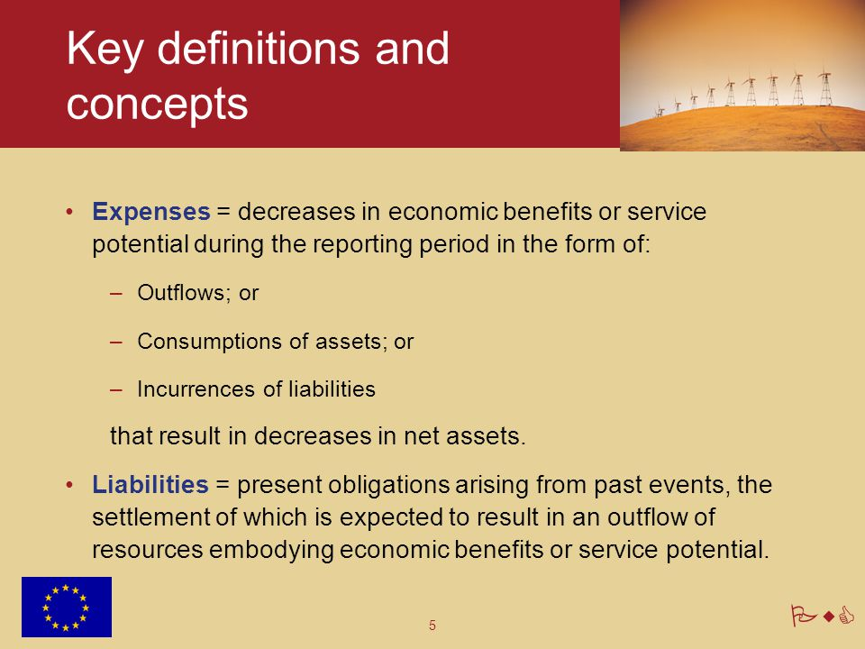 5 PwC Key definitions and concepts Expenses = decreases in economic benefits or service potential during the reporting period in the form of: –Outflows; or –Consumptions of assets; or –Incurrences of liabilities that result in decreases in net assets.
