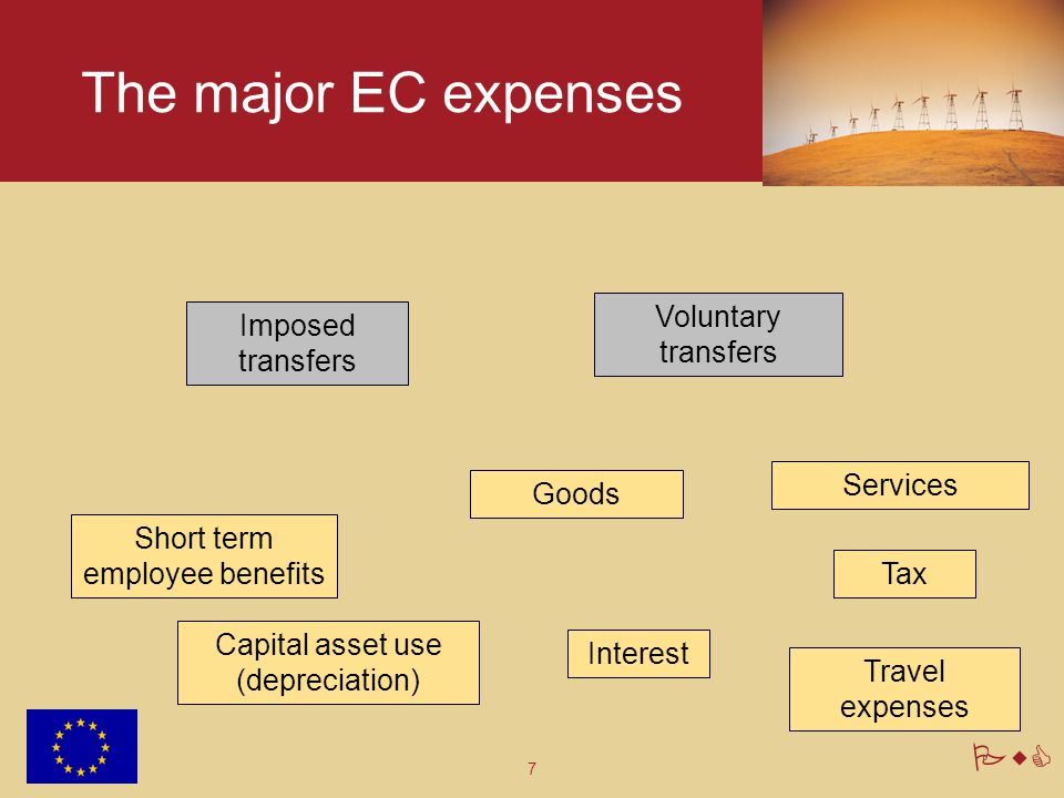 7 PwC The major EC expenses Short term employee benefits Services Capital asset use (depreciation) Imposed transfers Voluntary transfers Interest Good