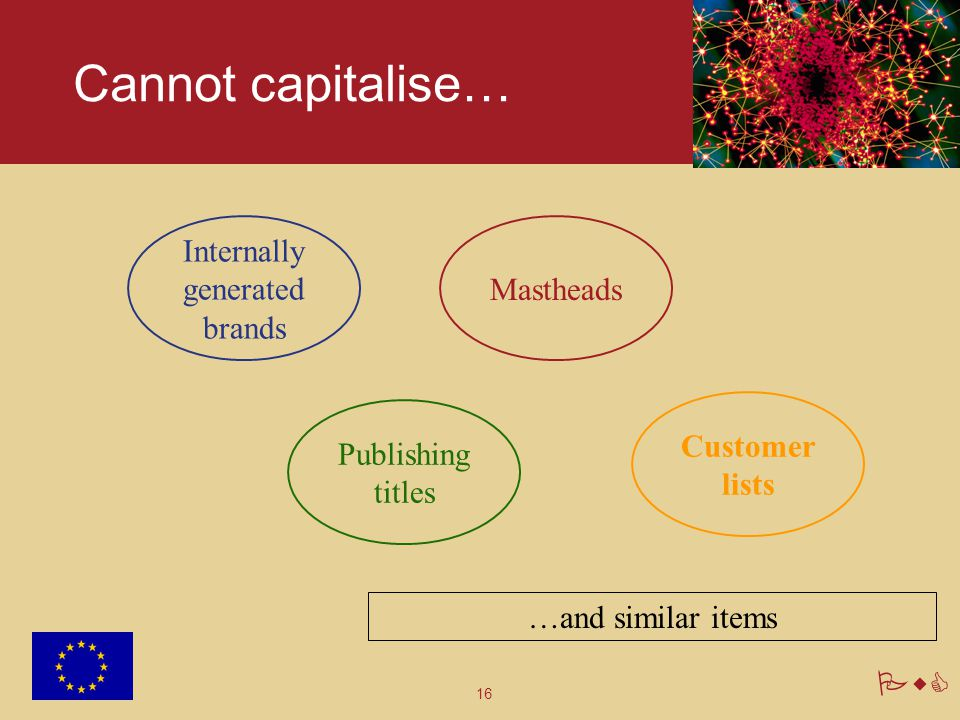 16 PwC Cannot capitalise… Internally generated brands Customer lists Publishing titles Mastheads …and similar items