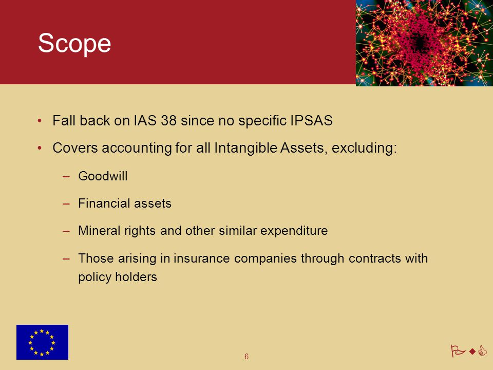 6 PwC Scope Fall back on IAS 38 since no specific IPSAS Covers accounting for all Intangible Assets, excluding: –Goodwill –Financial assets –Mineral r