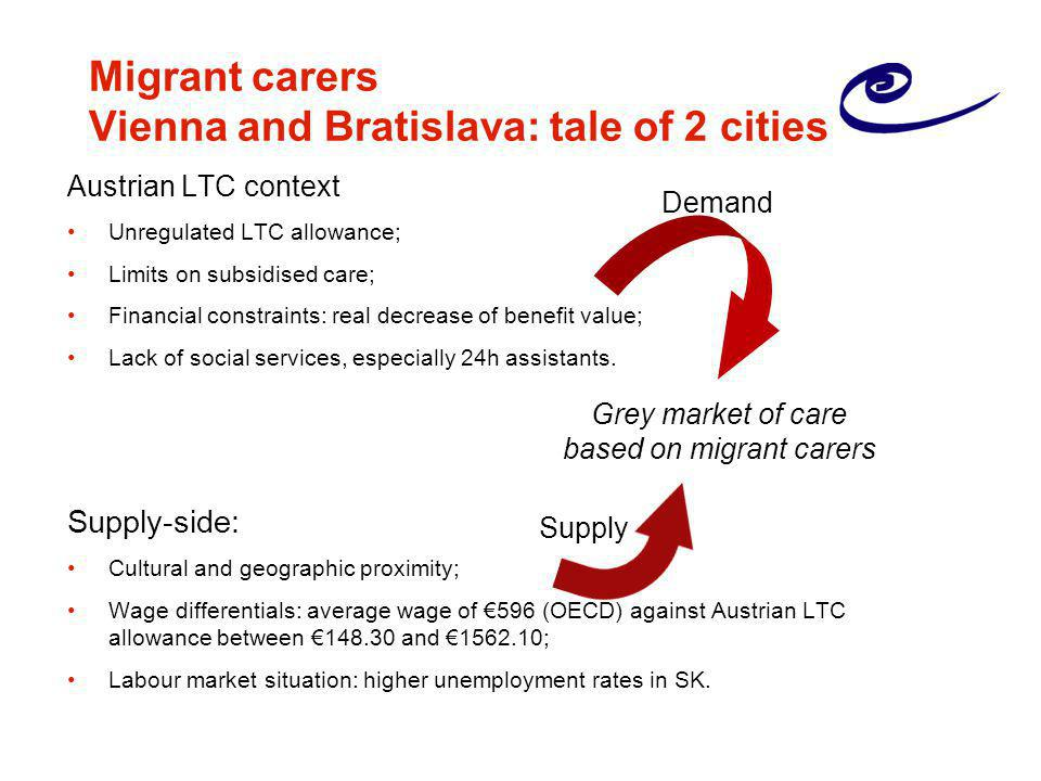 Migrant carers Vienna and Bratislava: tale of 2 cities Austrian LTC context Unregulated LTC allowance; Limits on subsidised care; Financial constraint