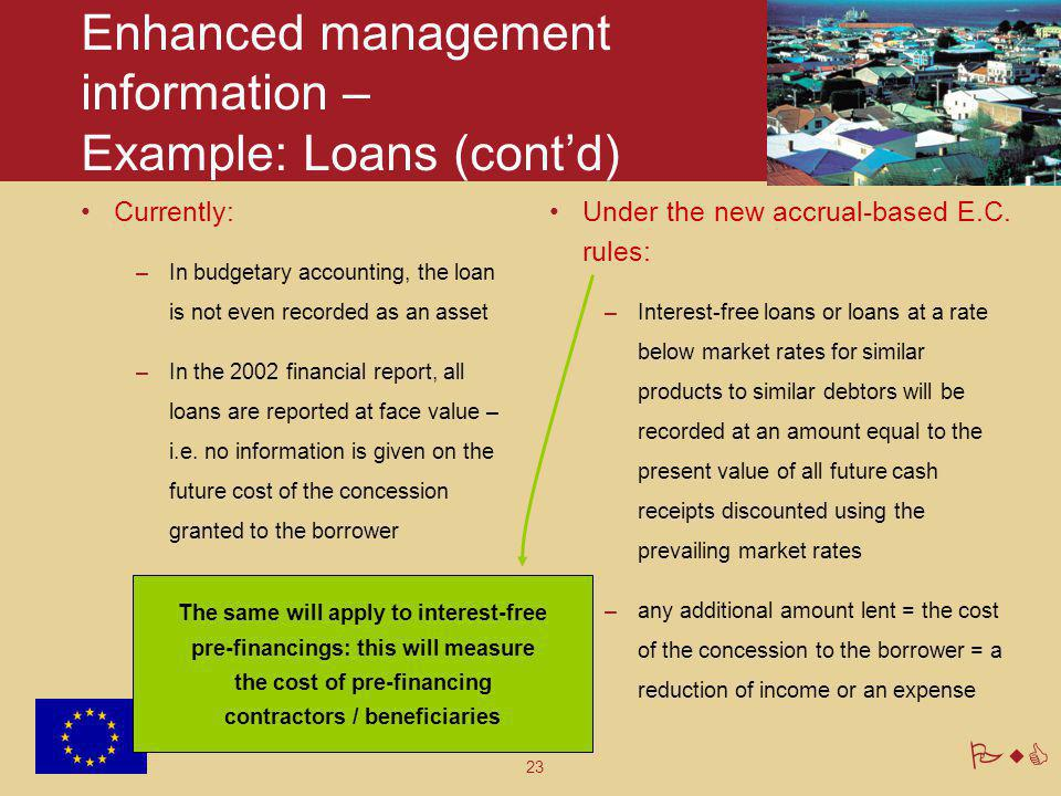 23 PwC Enhanced management information – Example: Loans (cont'd) Currently: –In budgetary accounting, the loan is not even recorded as an asset –In th