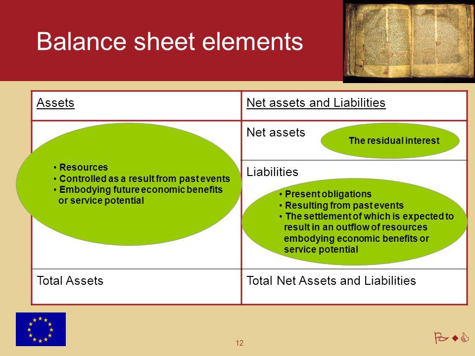12 PwC Balance sheet elements AssetsNet assets and Liabilities Net assets Liabilities Total AssetsTotal Net Assets and Liabilities Resources Controlle