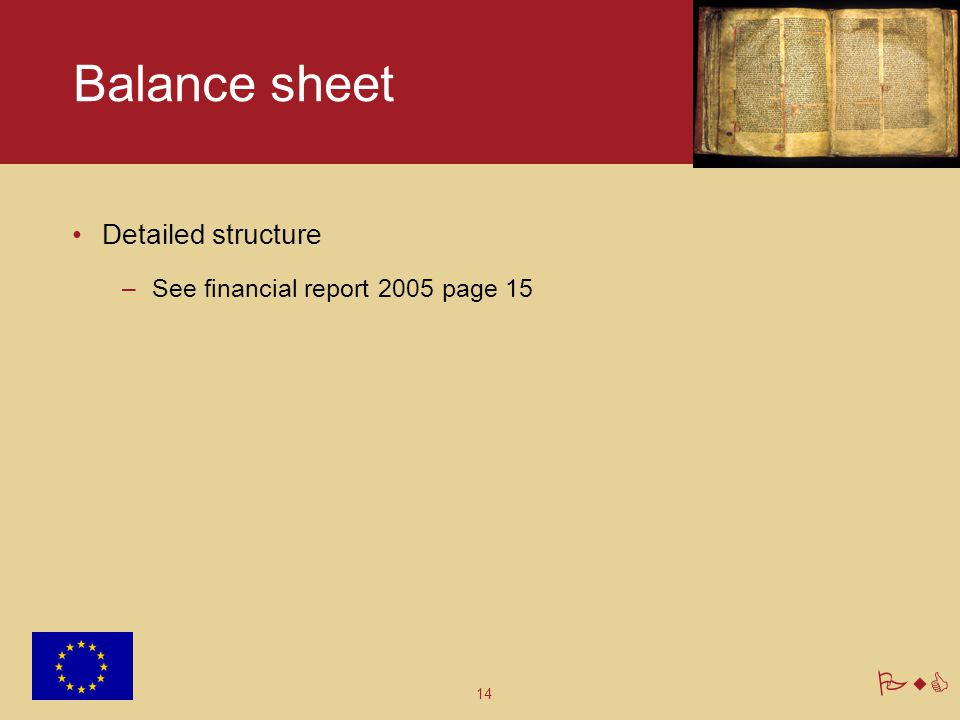 14 PwC Balance sheet Detailed structure –See financial report 2005 page 15