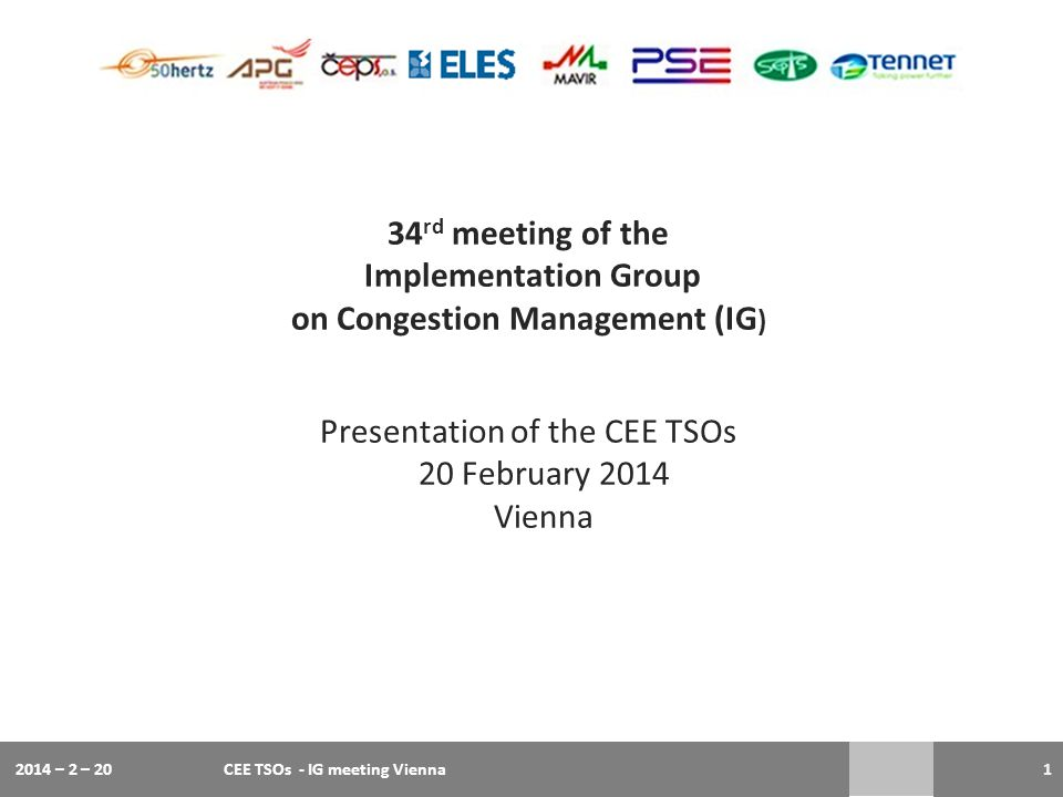 34 rd meeting of the Implementation Group on Congestion Management (IG ) Presentation of the CEE TSOs 20 February 2014 Vienna 2014 – 2 – 20CEE TSOs -