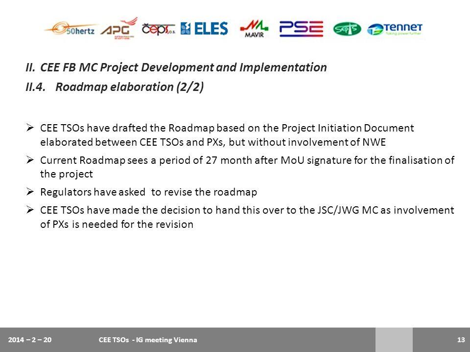 2014 – 2 – 20CEE TSOs - IG meeting Vienna13 II.CEE FB MC Project Development and Implementation II.4.Roadmap elaboration (2/2)  CEE TSOs have drafted