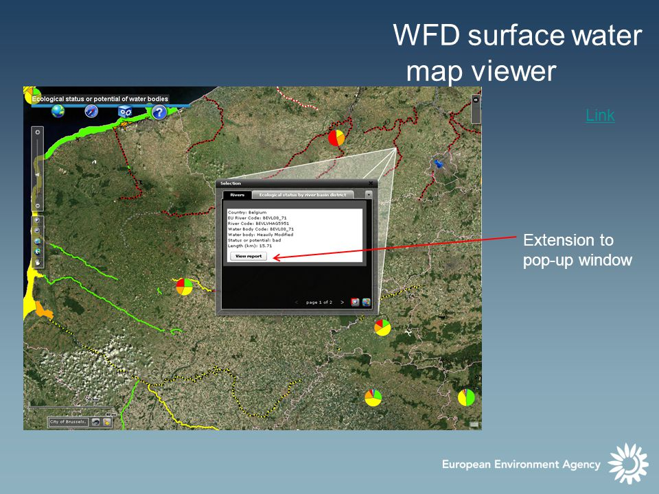 WFD surface water map viewer Extension to pop-up window Details on -ecological status -Pressures Download and print options