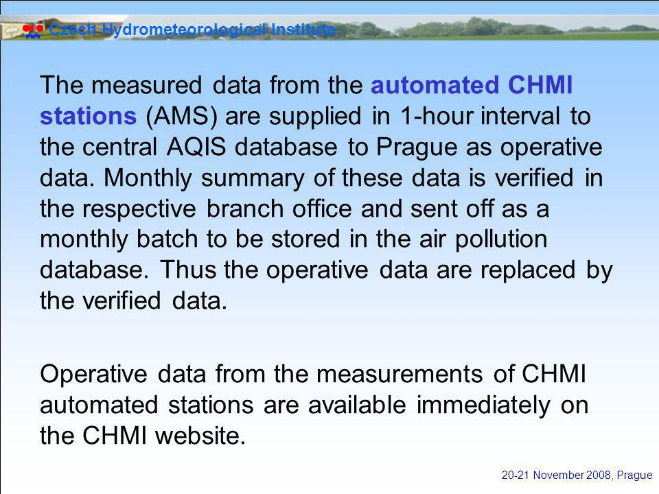 Czech Hydrometeorological Institute 20-21 November 2008, Prague The measured data from the automated CHMI stations (AMS) are supplied in 1-hour interval to the central AQIS database to Prague as operative data.