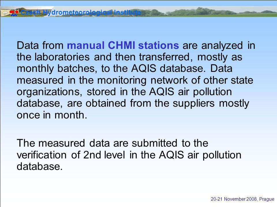 Czech Hydrometeorological Institute 20-21 November 2008, Prague Data from manual CHMI stations are analyzed in the laboratories and then transferred, mostly as monthly batches, to the AQIS database.