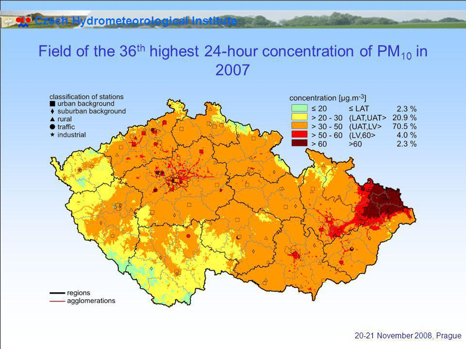 Czech Hydrometeorological Institute 20-21 November 2008, Prague Field of the 36 th highest 24-hour concentration of PM 10 in 2007