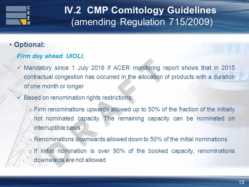 13 IV.2 CMP Comitology Guidelines (amending Regulation 715/2009) Optional: Firm day ahead UIOLI, Mandatory since 1 July 2016 if ACER monitoring report